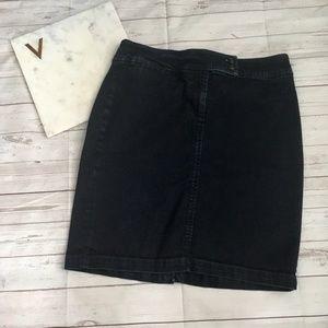 talbots womens 6p straight denim skirt preppy cott